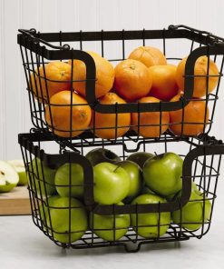 Raven 1-3pcs Pack Stacking Wire Fruit Market Baskets