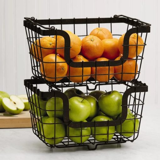 Raven 1-3pcs Pack Stacking Wire Fruit Market Baskets