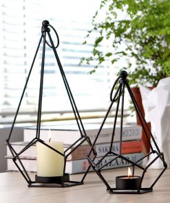 Robbie Iron Table Candlestick Creative Geometric Moroccan Style