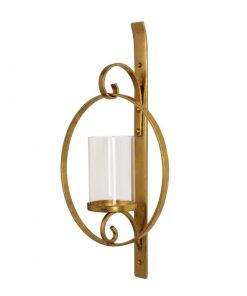Robbie Wall Decor Round Glass and Metal Candle Sconce