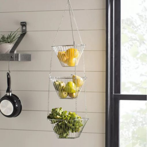 Rosado Metal Three Tiered Hanging Fruit Basket