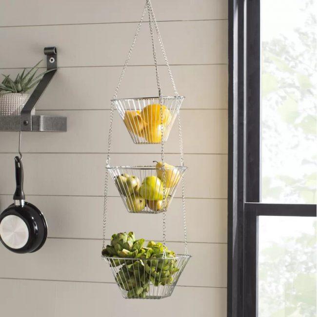 Rosado Metal Three Tiered Hanging Fruit Basket