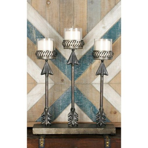 Rosalie Metal Standing 3-Arrows Votive Candle Holders Candelabra
