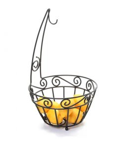 Slip Metal Spectrum Fruit Basket Bowl with Banana Tree Hanger