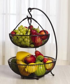 Lapcos Metal Spindle Adjustable 2-Tier Basket with Banana Hook Black Fruit Basket
