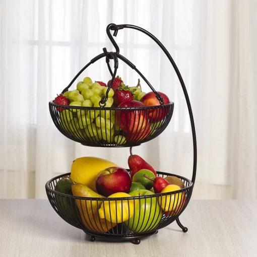 Lapcos Metal Spindle Adjustable 2-Tier Basket with Banana Hook Black Fruit Basket