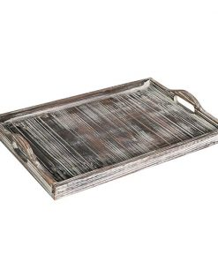 Suite Country Rustic Torched Wood Breakfast Serving Tray With Cutout Handles