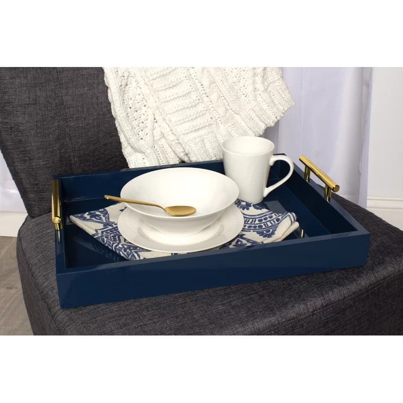 Tray is perfect for use on entryway table, vanity, ottoman, or even for serving drinks!