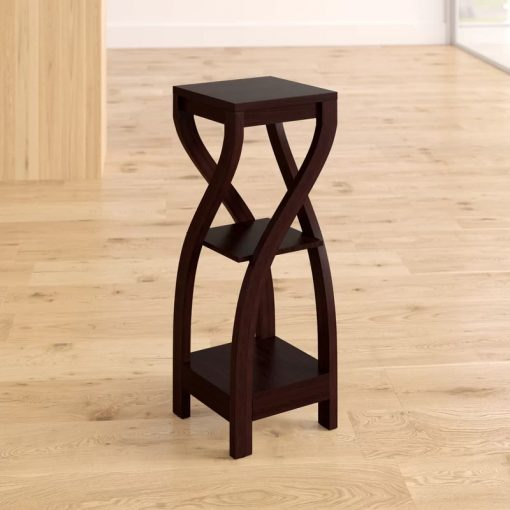 Tiny Cappuccino Brown Hall Console Accent Table Indoor Square Composite Plant Stand