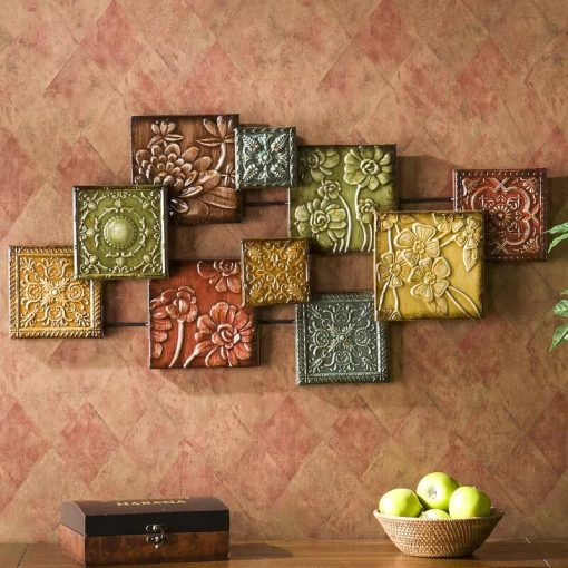 Various Flowers Square Panel Metal Wall Accents