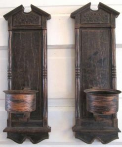 Voluspa Wooden Set of 2 Vintage wall sconce candle holder