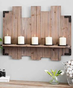 Wanderer Rustic Farmhouse Wood Plank Wall Candle Holder