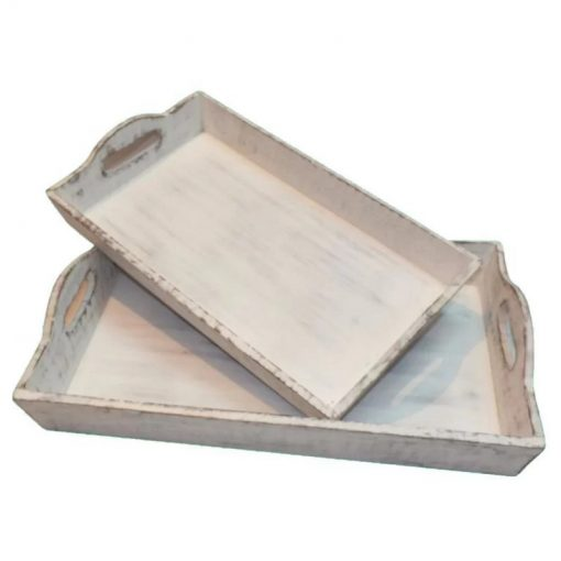 Webster Set of 2 Distressed Rustic Wooden Finish Serving Trays With Handles