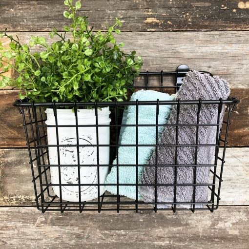 Whitney Rustic Metal Wire Basket Wall Mount Decor
