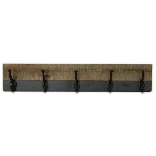 Bistro Metal Trimmed Five Hook Wall Mounted Coat Rack