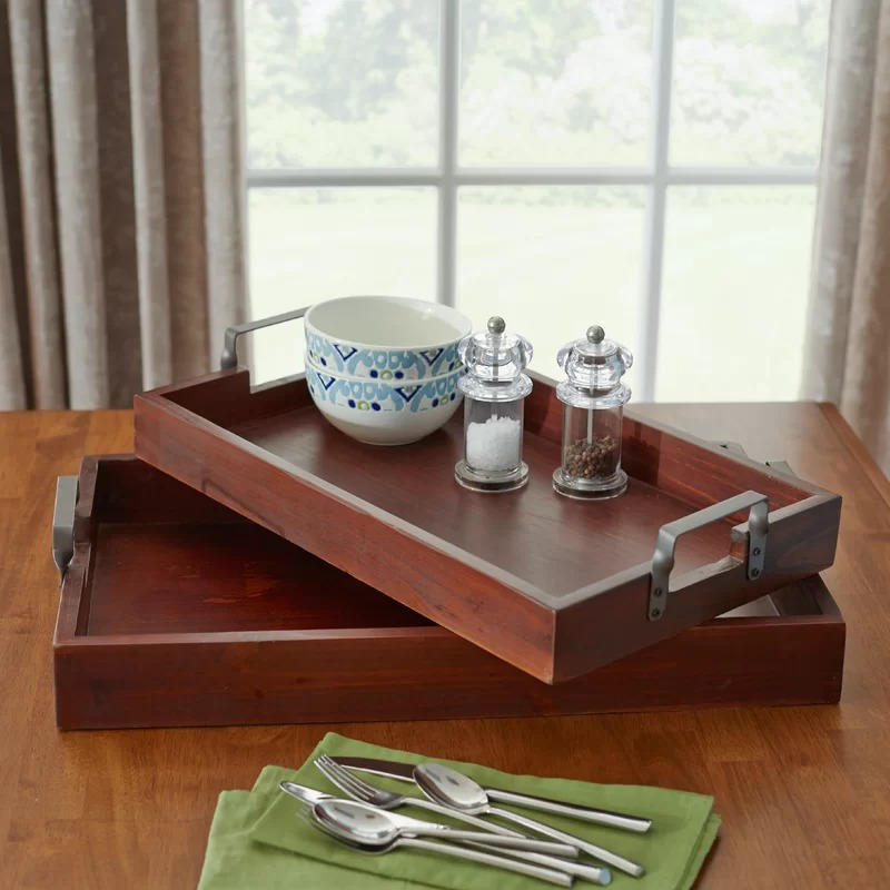 Woven 2-Piece Industrial Style Wood Box Serving Tray Set In Mahogany