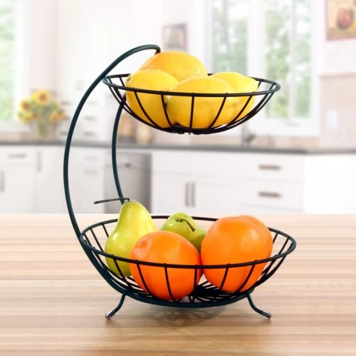 Zodiac 2 Tier Wire Metal Footed Pedestal Home Decor Accent Fruit Basket