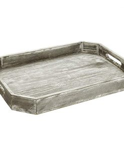 Zooey Country Rustic Wood Serving Tray with Cutout Handles and Angled Edges