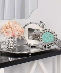 Zooey Metal Mirrored Ornate Scalloped Decorative Mirror Tray