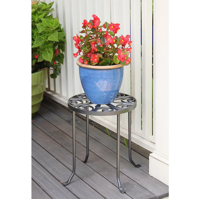 Ginger Trivet Scrollwork Wrought Iron Round Plant Stand or Side Table
