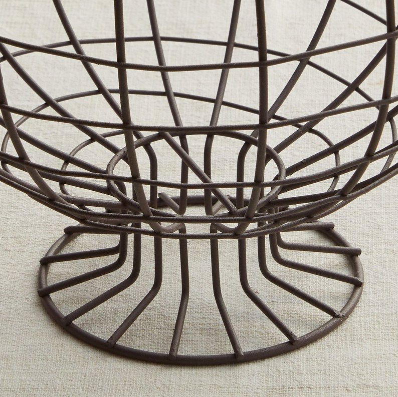 Nikki Rustic Metal Wire Pedestal Fruit Basket&Bowl