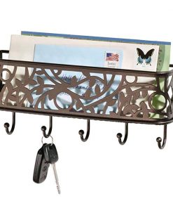 Terrain Wall Mount Metal Entryway Storage Organizer Mail Sorter Basket With 5 Hooks