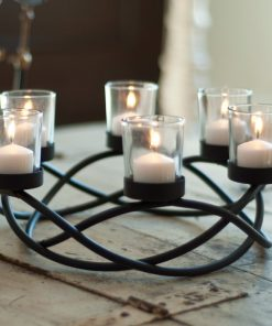 Perasima Black Metal Round Waves Candleholder Centerpiece