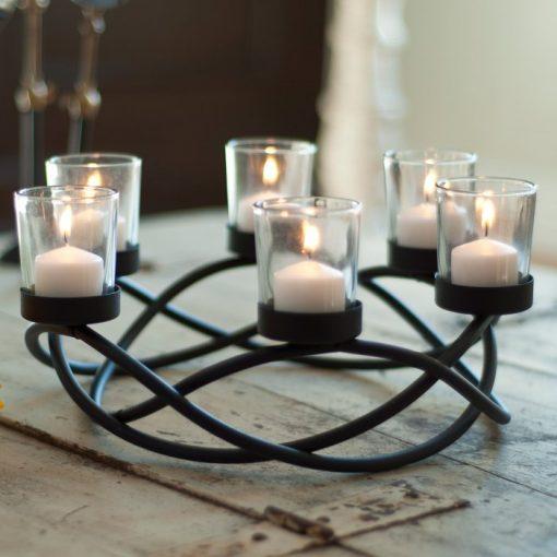 Perasima Black Metal Round Waves Candleholder Centerpiece