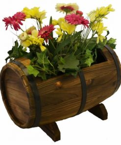 Alexis Wooden Whiskey Barrel Outdoor Planter