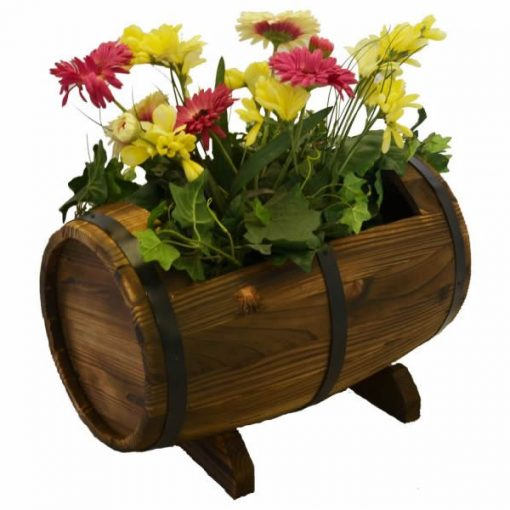 Alexis Wooden Whiskey Barrel Outdoor Planter