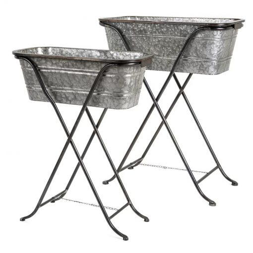 Bauble Set Of 2 Galvanized Planters on Stand Metal Raised Garden
