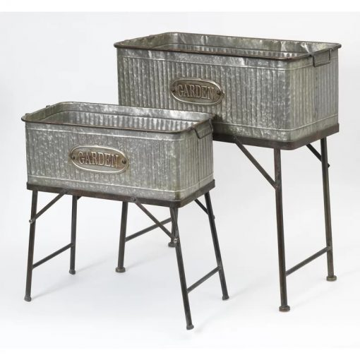 Birdie Rectangle Galvanized Metal Plant Stands (Set of 2)
