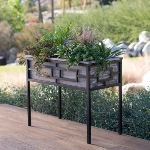 Cindy Wood and Metal Raised Planter Beds