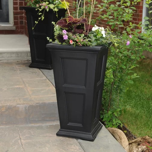 Claudia Self-Watering Tall Black Patio Planter