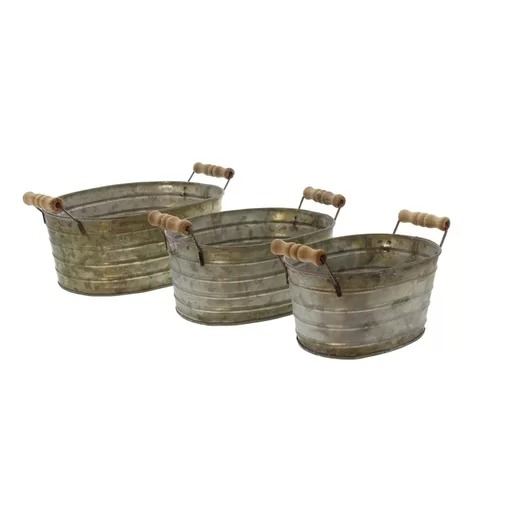 Del Set of 3 Metal Planter Tubs With Wooden Handles