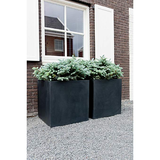 Eberjey Square Black Fiberstone Cube Planter Box