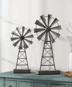 Estelle Set Of 2 Farmhouse Distressed Gray Windmill Table Decor