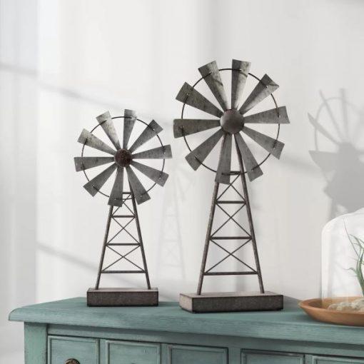 Estelle Set Of 2 Farmhouse Distressed Gray Windmill Table Decor