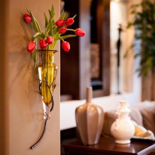 Eva Decorative Hanging Glass Flower Vase On Metal Twig Sconce