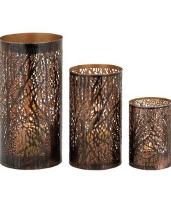 Forest Lotta Metal Hurricane Candle Holders (Set of 3) In Bronze
