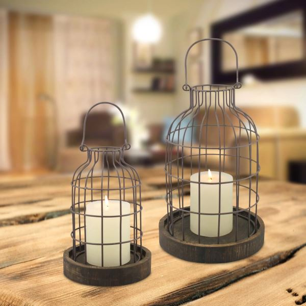 Gloria Set Of 2 Weathered Metal Cloches With Rustic Wood Base