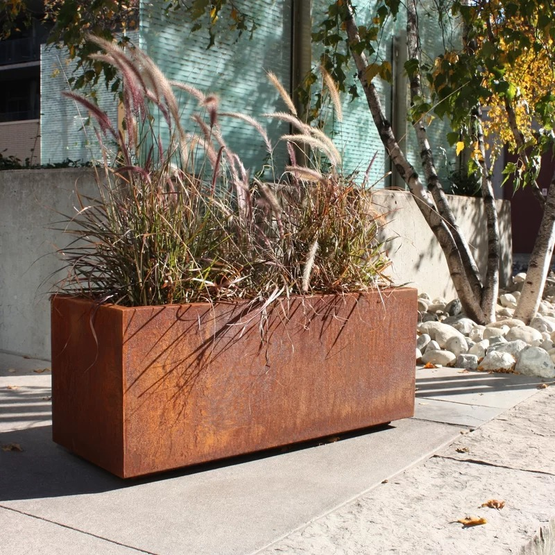Grayson Long Rectangle Metallic Series Corten Steel Planter Box