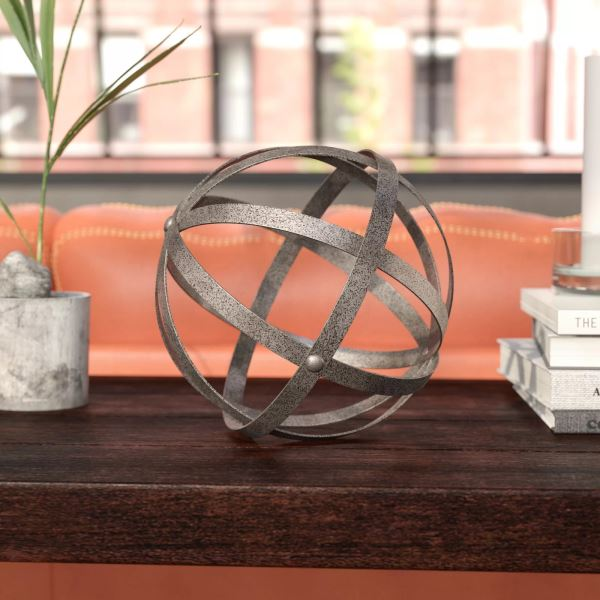 Hand Made Rustic Metal Folding Orb Sculpture