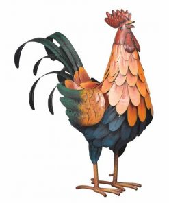 Iconic Metal Regal Multicolor Rooster Decor