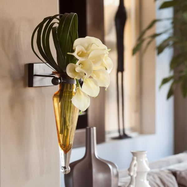 Lano Wall Mount Amphora Glass Flower Vase On Iron Sconce With Finials