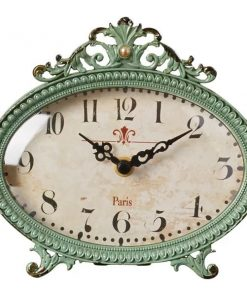 Leah Distressed Chic Aqua Mantel Table Clock