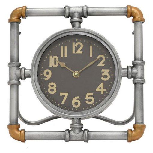 Luann Gray Industrial Metal Pipe Table Clock