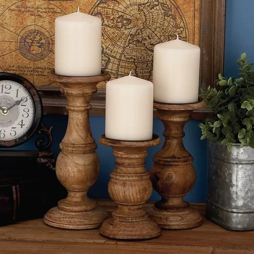 Kreafunk Natural Wooden Brown Pillar Shaped Candle Holder