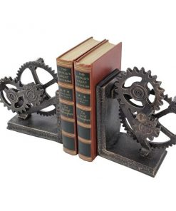 Mistral Industrial Gear Steampunk Sculptural Decor Bookends