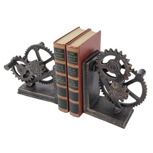 Mistral Industrial Gear Steampunk Sculptural Decor Bookends